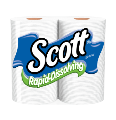 Scott septic and sewer safe Rapid Dissolving toilet paper.