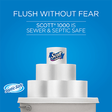 Scott 1000 toilet paper is septic and sewer safe.